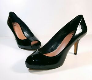 09fb6849aa Vince Camuto Size 7 B Black Kira Peep Toe Patent Leather Heels Pumps ...