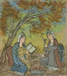 Indian-Miniatures-Late-19th-Century-Gouache-Women-Reading-in-a-Landscape