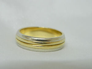 18ct Two Colour Gold Wedding Band Ring eBay