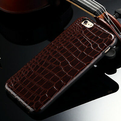 Luxury Crocodile Pattern Leather Back Phone Case Cover For Apple iPhone 5 6 Plus
