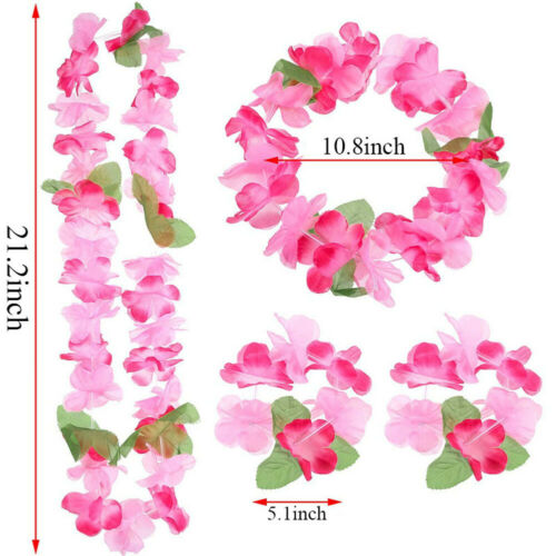 Hawaiian Set Hula Flower Garland Set Lei Set Hula Beach Hen Party Fancy Dress Y8