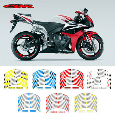 """FIT FOR HONDA CBR RR MOTORCYCLE RIM /""""17 STRIPES WHEEL DECALS TAPE STICKERS"""