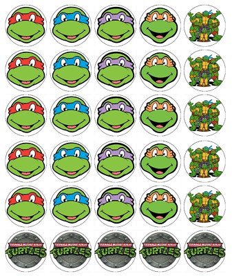 30 x teenage mutant ninja turtle cupcake toppers comestibles fairy cake toppers
