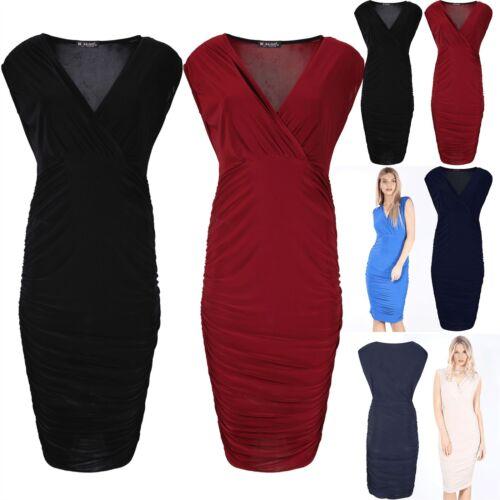 Mesdames wrap cross over col v mini robe femme côté froncé soft près du corps 8-22