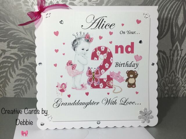 2nd Birthday Card Girl Daughter Granddaughter Sister Personalised Princess