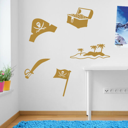 Skull Cross Bones Pirate Hat Treasure Chest Sword Island Vinyl Wall Stickers A52