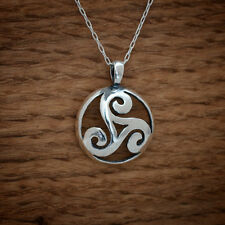 925 Sterling Silver Celtic Triskelion Triple Spiral Pendant FREE Cable Chain