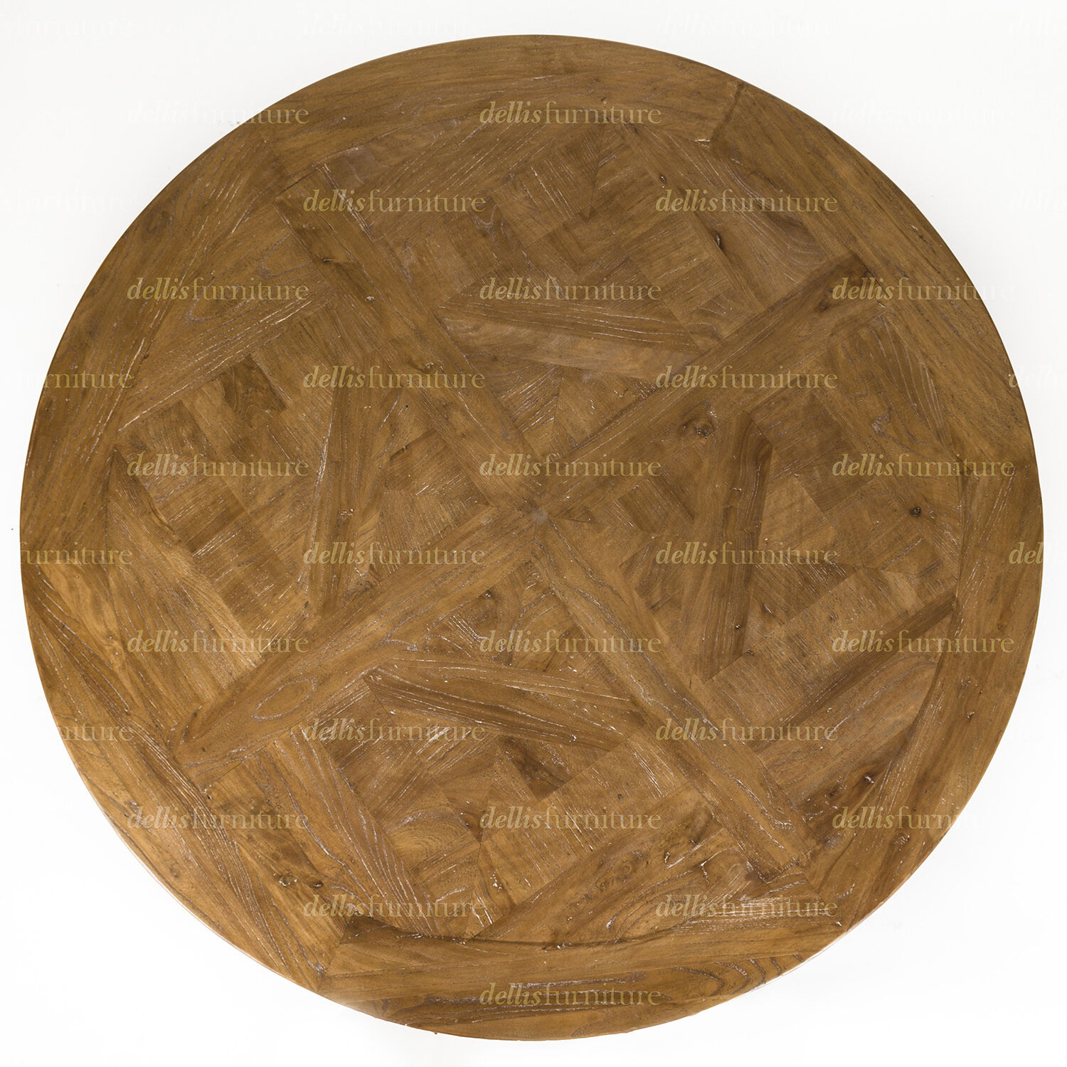 New Ronde Parquetry Elm Timber French Style Pedestal Round