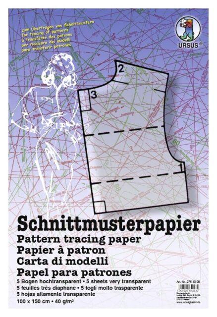 SCHNITTMUSTERPAPIER 5 BOGEN 100 X 150 CM SCHNITTMUSTER-PAPIER NEU