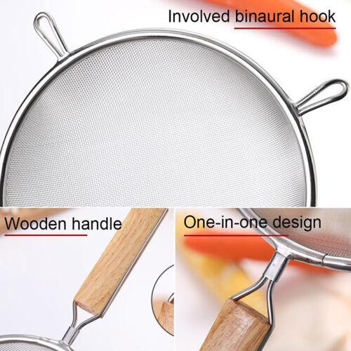 Fine Mesh Food Strainer 304 Stainless Steel Colander Sieve With Wooden HaYJUS