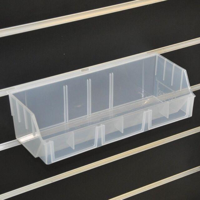5 x Storbox Wide 130x290x97 Clear Plastic Box for Slatwall GridMesh Pegboard