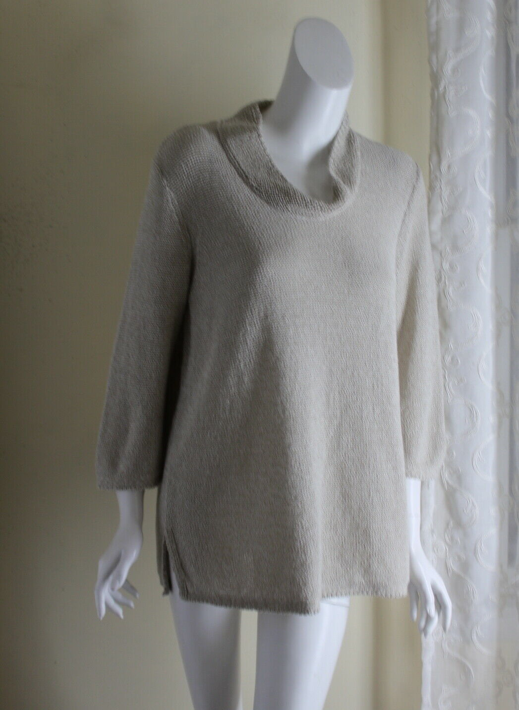 PureJ.Jill Sz L Textural Natural Ribbon Stitch Stand Collar A-Line Tunic Sweater