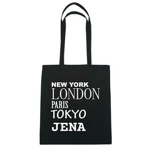 New York, London, Paris, Tokyo JENA - Jutebeutel Tasche - Farbe: schwarz