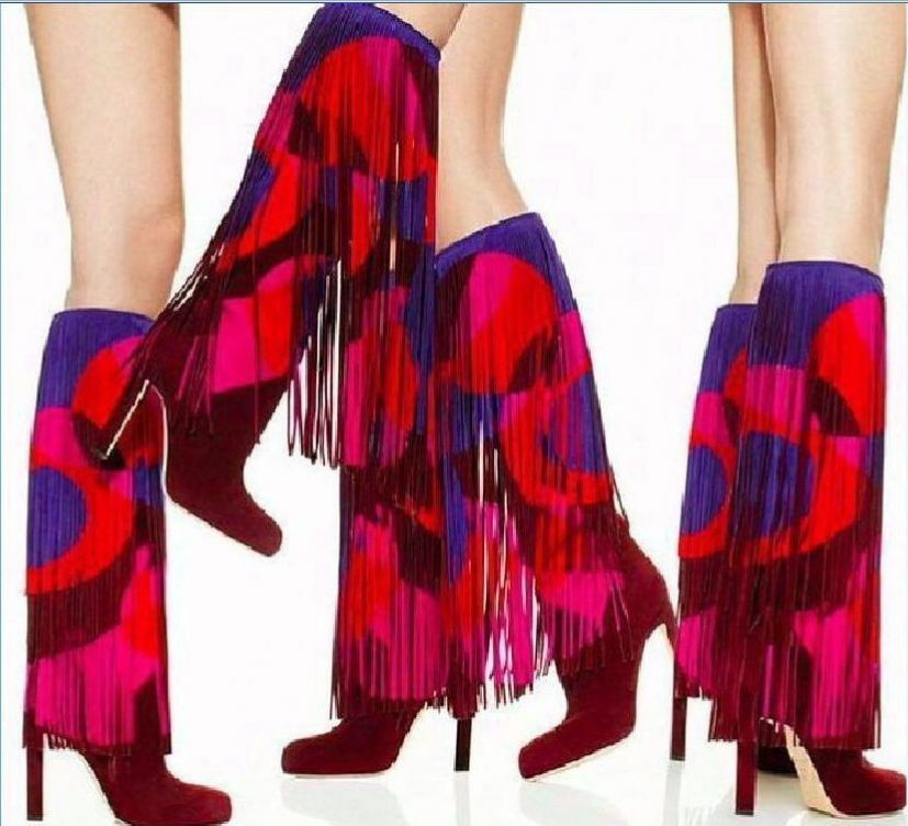 SUPER GORGEOUS  BRIAN ATWOOD RUNWAY 'LINDY' FRINGE SUEDE BOOTS US 8