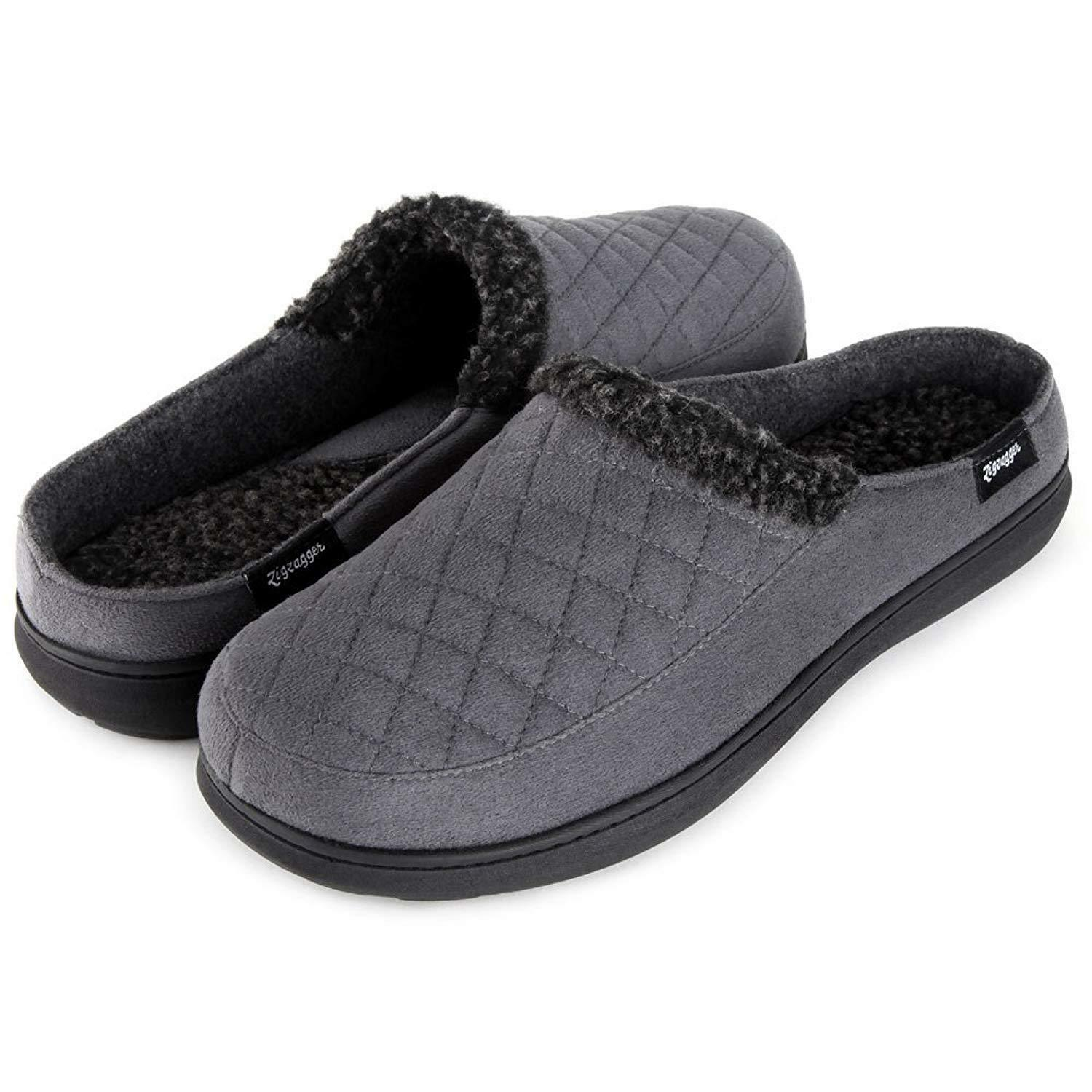 Zigzagger Men'S Suede Fabric Memory Foam Slippers Slip On Clog House Shoes Ind