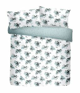 HAND-PAINTED-STYLE-FLORAL-FLOWERS-WHITE-COTTON-BLEND-SINGLE-DUVET-COVER