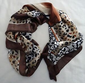 UNBRANDED-SCARF-POLYESTER-BROWN-BLACK-CREAM-ABSTRACT-DESIGN-36-034-SQUARE-VINTAGE