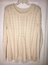 1ddfac99ee Cabi 3157 Lace Up Pullover Sweater Ivory Cotton Cable Knit Chiffon Size M