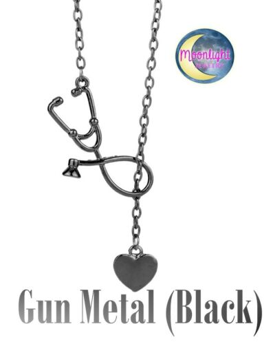 New Stethoscope Lariat Heart Pendant Doctor Nurse Medical Necklace