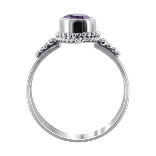 925 Sterling Silver Pear Shape Amethyst Gemstone Solitaire Ring Size 5-10