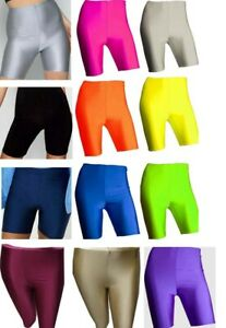 Ladies-Womens-Mens-Cycling-Shorts-Dancing-Neon-Super-Stretch-Shiny-High-Waist