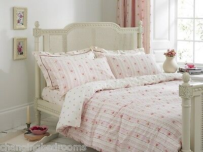 MELISSA HOME PINK CAMILLE ROSES 100% COTTON ALL SIZES DUVET SETS & CURTAINS