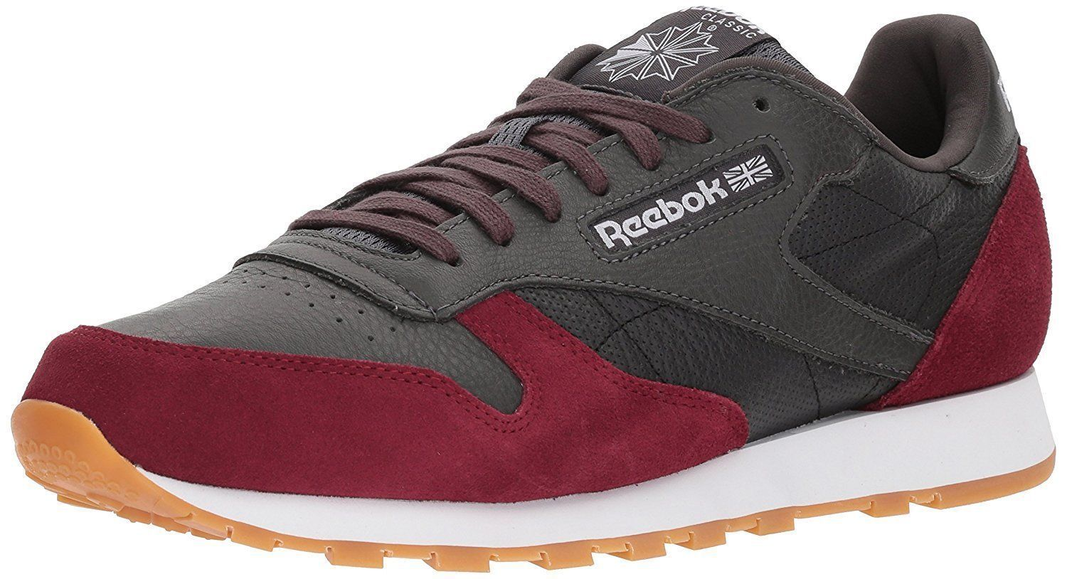 Reebok Classic Leather Men's Running Training Shoes Coal/Urban Maroon BS9744