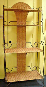Bakers-Rack-Wrought-Iron-amp-Wicker-Etagere-Shelf-Book-Shelf