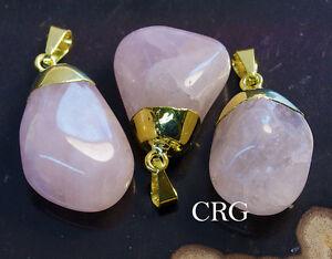 Gold-Plated-Tumbled-Rose-Quartz-Pendant-TU20BT