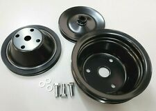 Sb Chevy Long Water Pump Steel Pulley Kit Sbc 1 Grove Upper 2 Grove Lower 350 V8