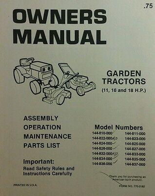 834 Yard-Man Lawn Tractor Operators Manual Model No