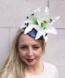 Image is loading Large-Navy-Blue-White-Cream-Lily-Fascinator-Headpiece- 80df86d7f38