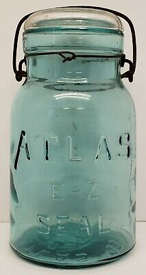 Vintage Atlas E-Z Seal Clamp Pint Canning Jars BUT Will Consider Other Options with Glass Tops......Price and Shipping are for ONE..