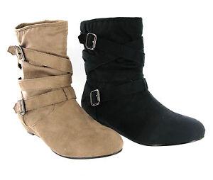 ee4b6881 Detalles de Mujer Duende Tobillo Botas sin Cordones Suave Tacón Cuña Baja  Estilo Casual UK