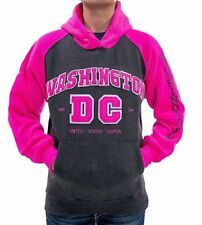 Washington DC Charcoal Pink NEON Hoodie Sweatshirt Embroidered Letters Unisex