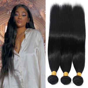 3 Bundles With Closure 100 Virgin Human Hair Weave Weft Brazilian 8 30 Inch Q46 Ebay