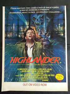 Highlander-034-Out-on-Video-Now-034-1980-039-s-Magazine-Advert-B5545