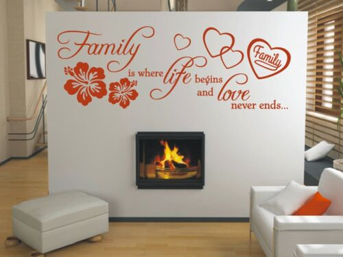 X258 Wandtattoo Spruch Family is where life begins Familie love Wandaufkleber