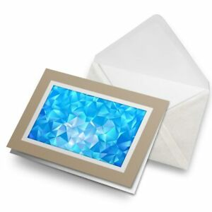 Greetings-Card-Biege-Abstract-Blue-Water-Triangles-21098