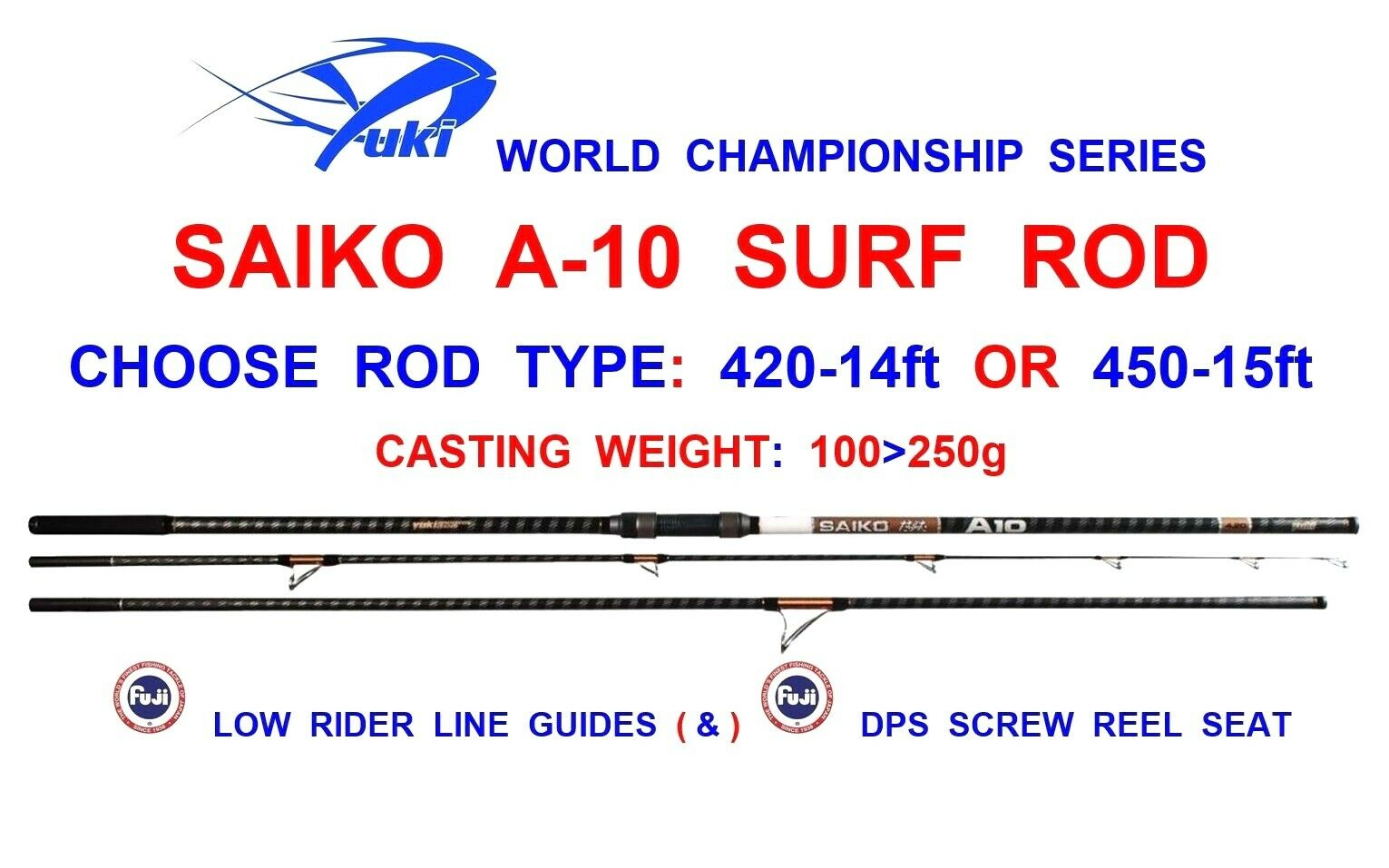 YUKI SAIKO A10 SURF ROD SEA FISHING 3pc BEACHCASTER FUJI LINE GUIDES & REEL SEAT