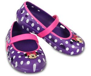 Crocs-Keeley-Minnie-Flats-Disney-Girls-Neon-Purple-Cute-Children-Size-6