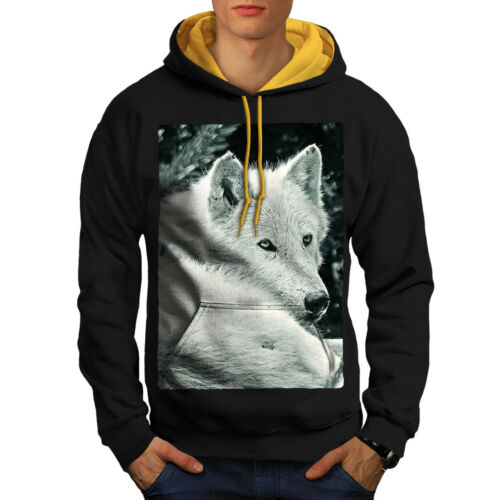 Hoodie gold Men Contrast Look Hood New Black White Wolf Ovzq1wOB