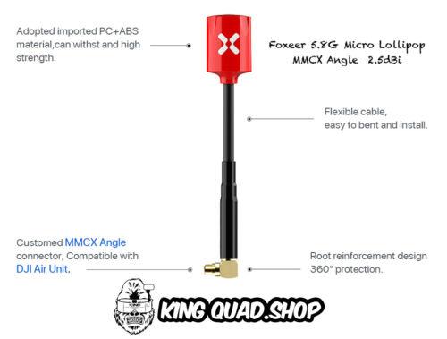 x1 Foxeer Lollipop V2 5.8G Mmcx SMASuper Mini Antena rojo//púrpura