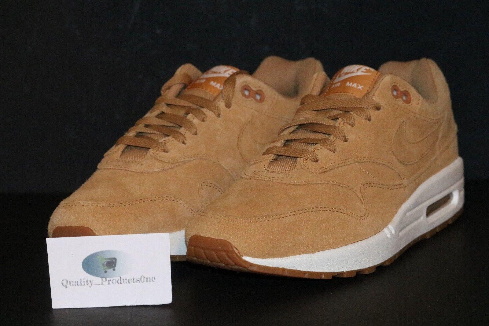 Nike Men's Air Max 1 PRM Premium Flax Sail Gum Brown Wheat 875844 203 Sz 8-9.5