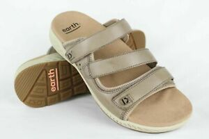Earth-Women-039-s-Mira-Loures-Slide-Sandals-Size-10-Taupe-Leather