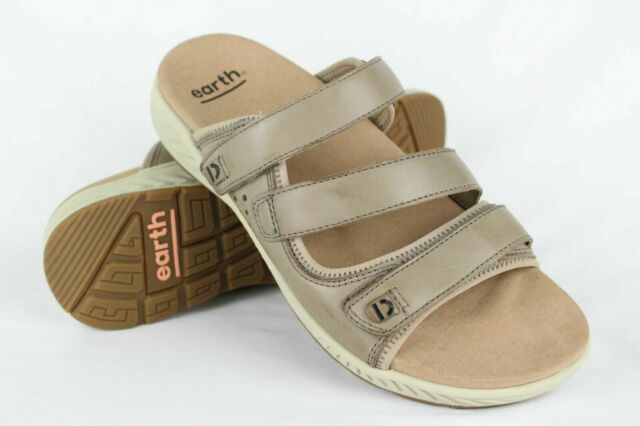 Earth Women's Mira Loures Slide Sandals Size 8, 9, or 10 Taupe Leather