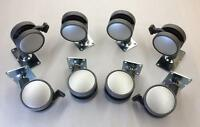 2-3/8 Dia Casters, 4 W/ Locking Brakes & Non-swivel, 4 W/ Swivel, Qty 8