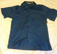 Havanera Co Mens S Small Button-front Shirt Grotto Blue Polyester/rayon