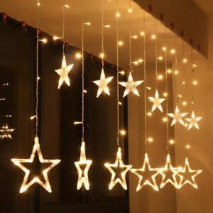 Warm-White-LED-Twinkle-Star-Fairy-String-Curtain-Window-Light-Xmas-Decoration-UK