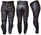 Warrior NEUF noir moto tout terrain cuir de vache cuir CE Protection pantalon